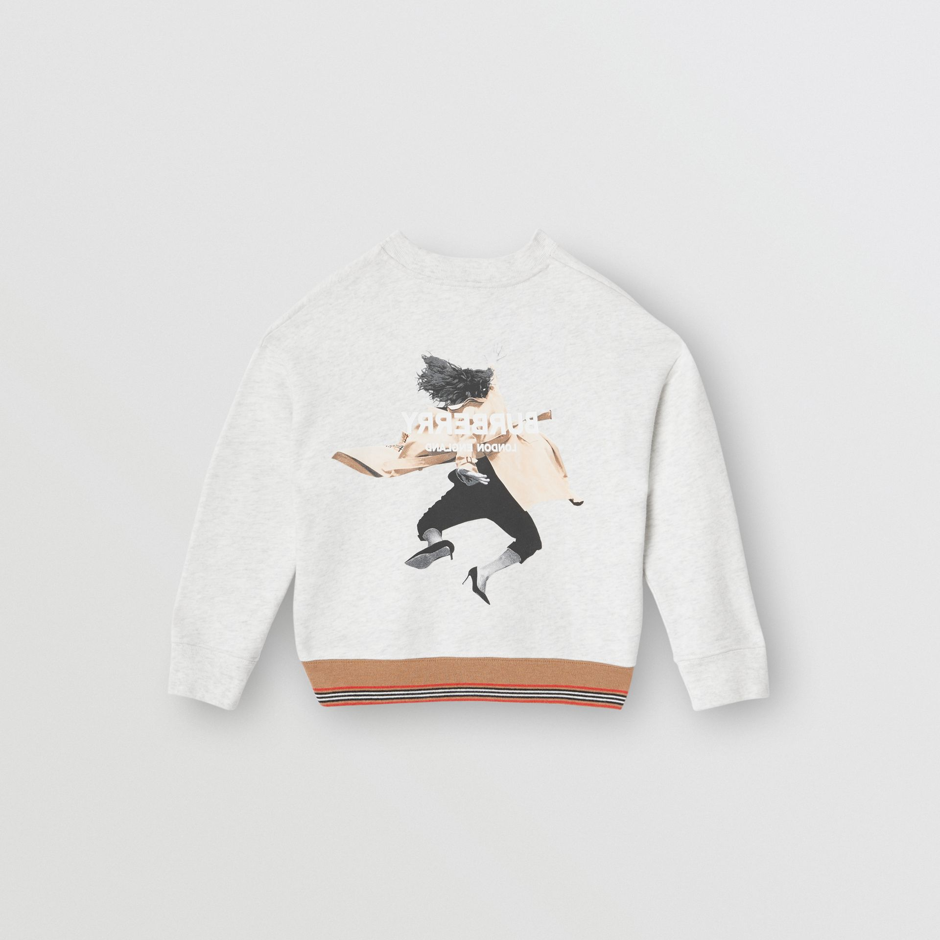 Jump Print Cotton Sweatshirt in White Melange | Burberry - gallery image 3