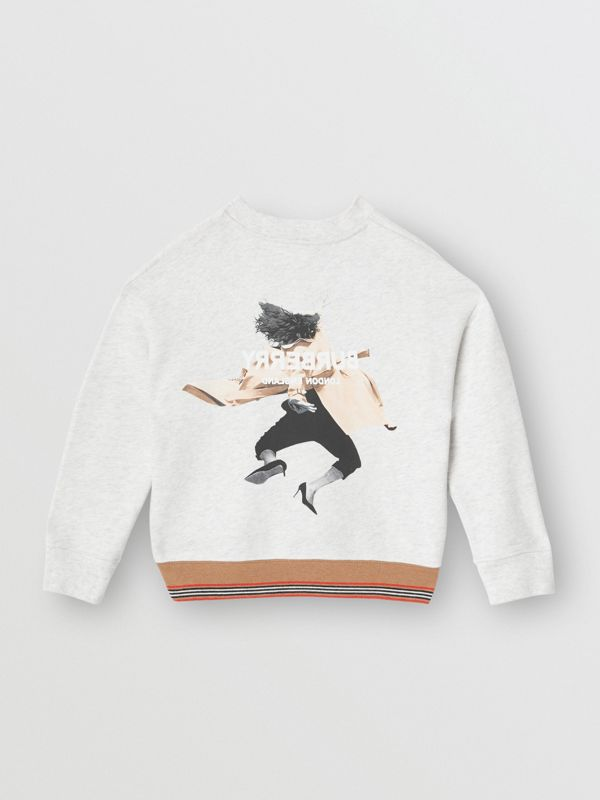 Jump Print Cotton Sweatshirt in White Melange | Burberry - cell image 3