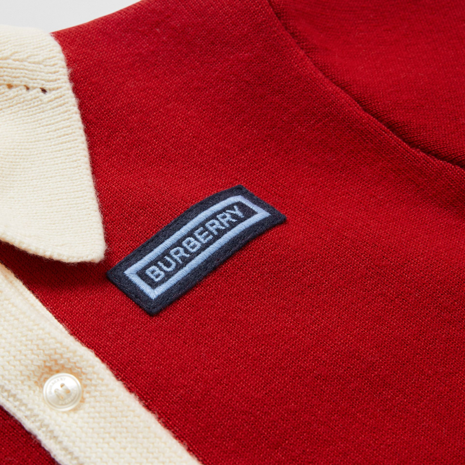 Logo Detail Merino Wool Blend Cardigan in Bright Red | Burberry - gallery image 1