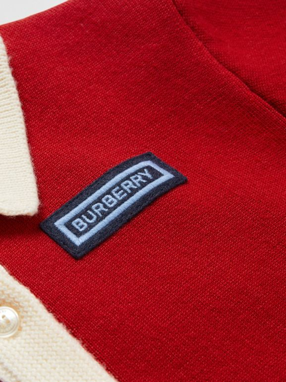 Logo Detail Merino Wool Blend Cardigan in Bright Red | Burberry - cell image 1