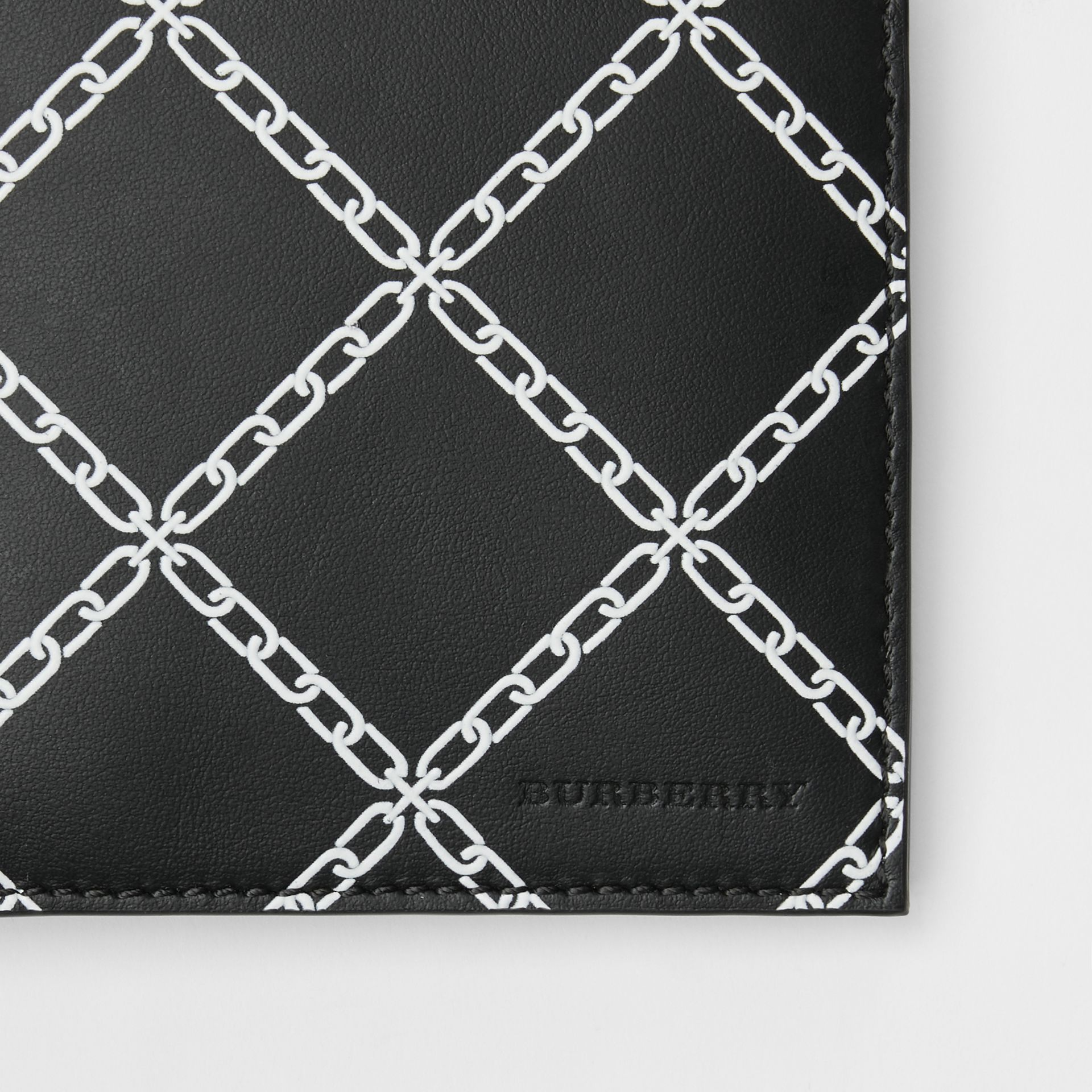 Link Print Leather International Bifold Wallet in Black - Men | Burberry Australia - gallery image 1