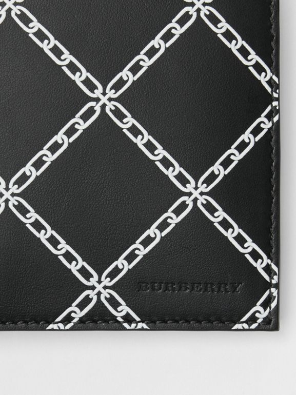 Link Print Leather International Bifold Wallet in Black - Men | Burberry Australia - cell image 1