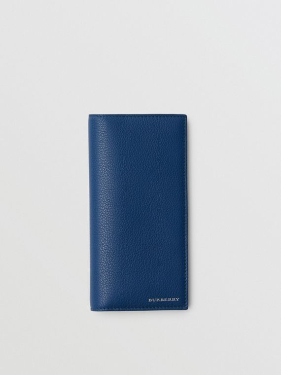 Grainy Leather Continental Wallet in Bright Ultramarine