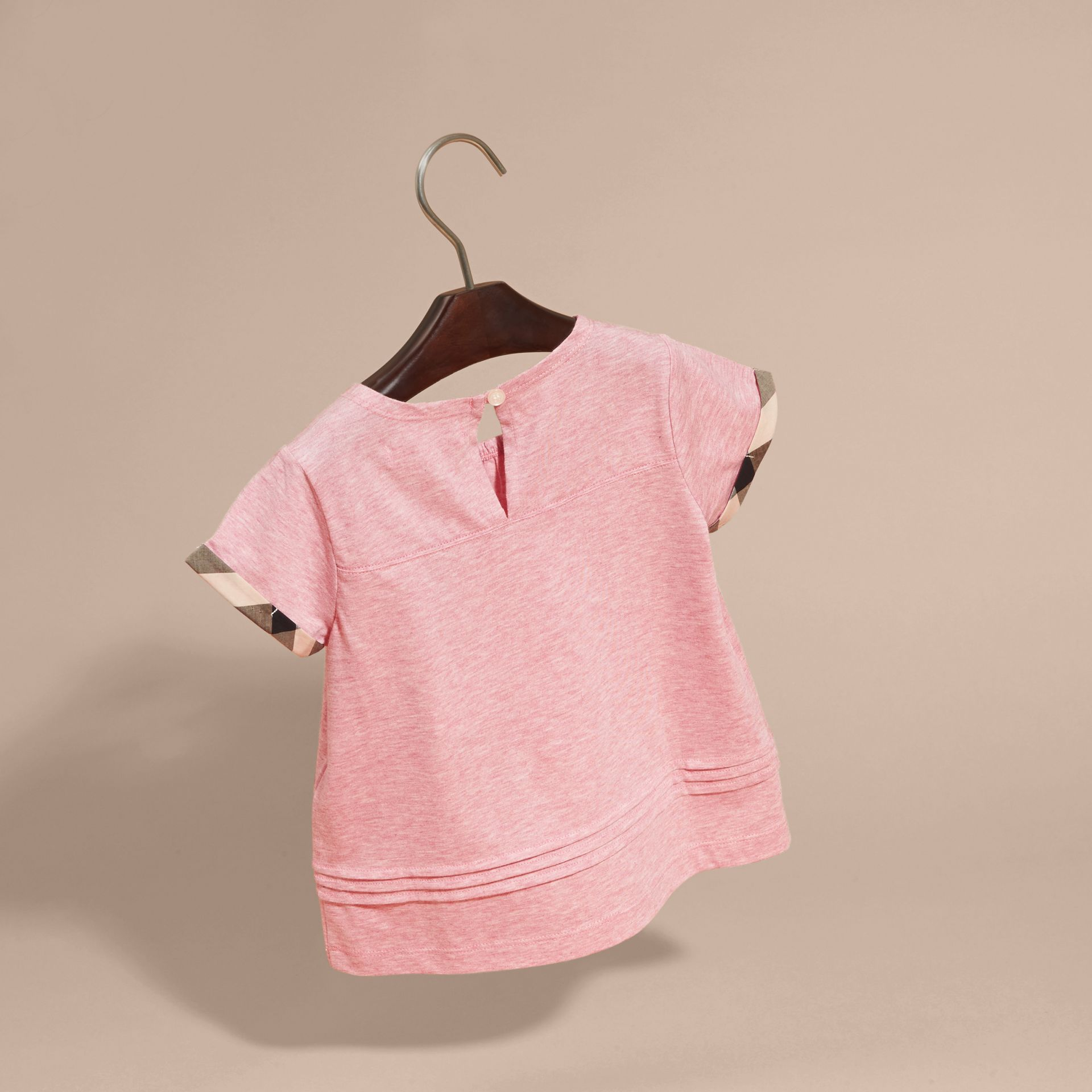 Pleat and Check Detail Cotton T-shirt in Light Copper Pink Melange | Burberry - gallery image 4