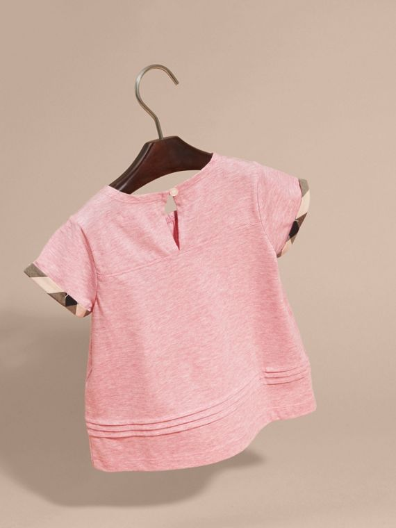 Pleat and Check Detail Cotton T-shirt in Light Copper Pink Melange - Girl | Burberry - cell image 3