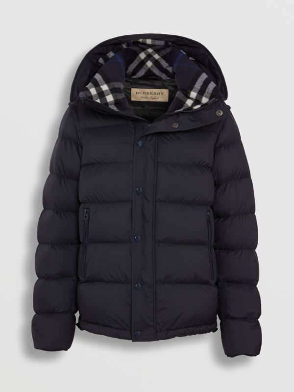 Detachable-sleeve Down-filled Hooded Puffer Jacket in Navy - Men | Burberry - cell image 3