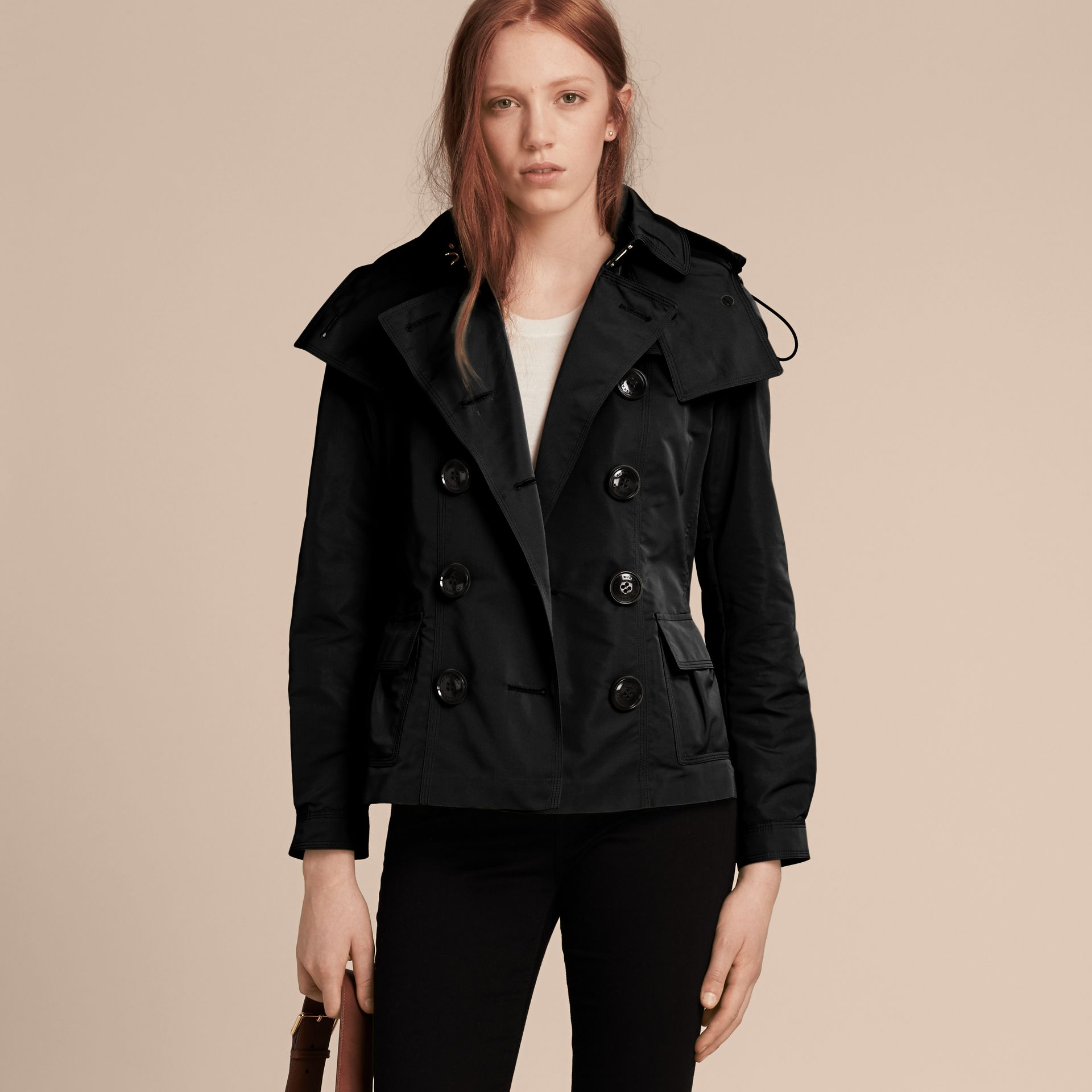 Showerproof Taffeta Trench Jacket with Detachable Hood in Black - gallery image 7