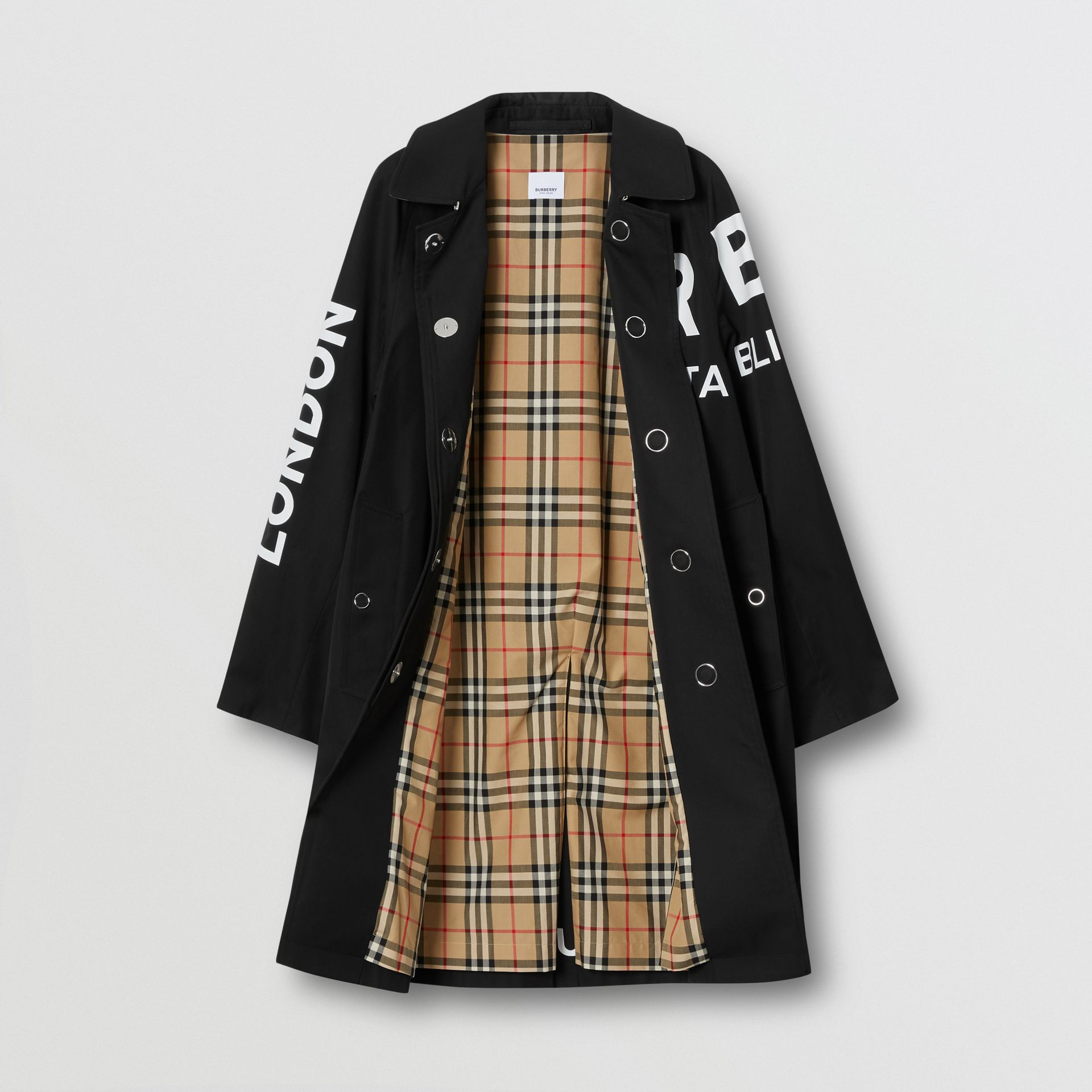 Horseferry Print Cotton Gabardine Car Coat in Black - Women | Burberry Hong Kong S.A.R. - gallery image 6