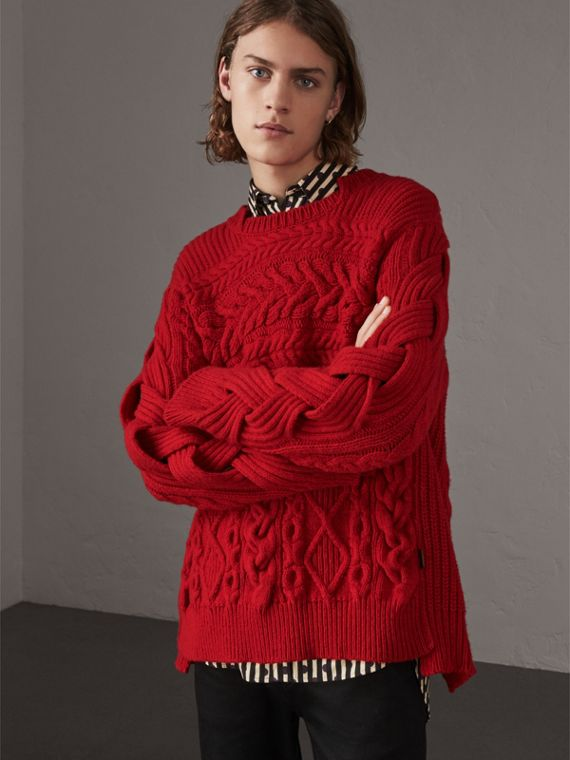 Aran Knit Cashmere Wool Sweater in Military Red