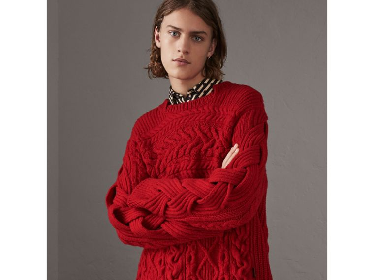 Aran Knit Cashmere Wool Sweater in Military Red - Men | Burberry - cell image 4