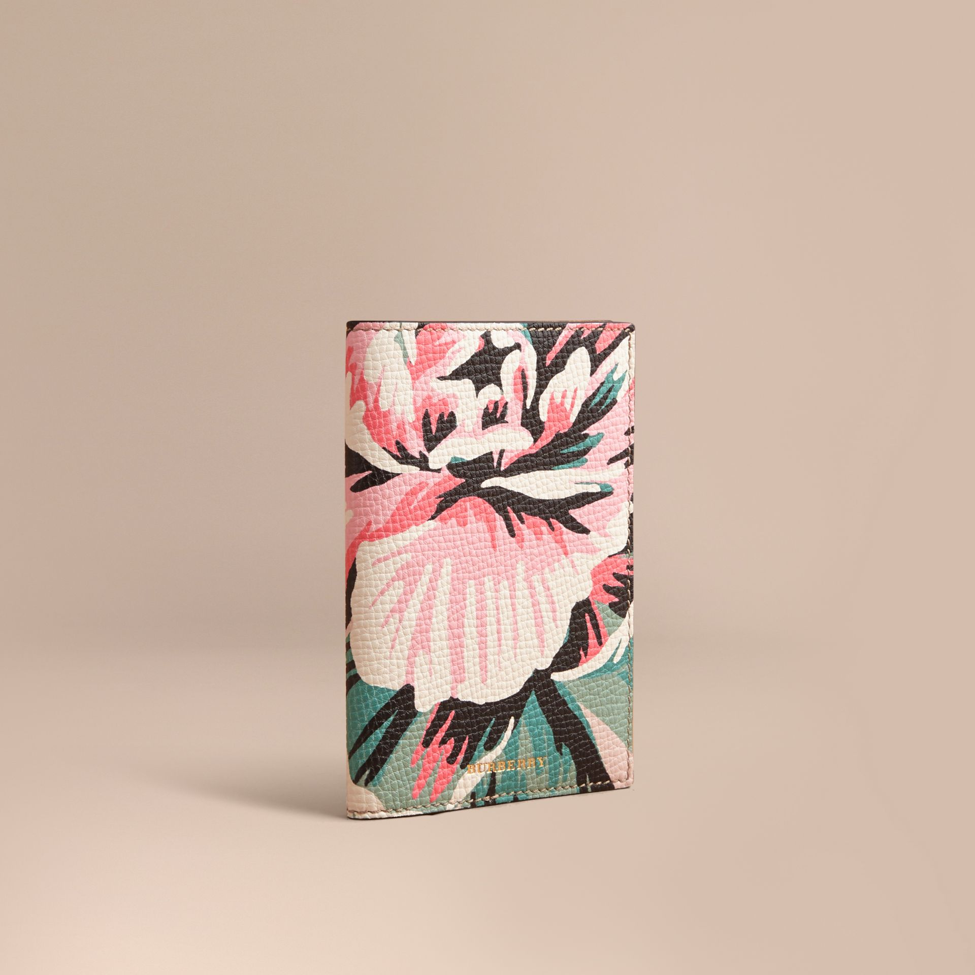 Peony Rose Print Leather Passport Cover in Natural / Emerald Green | Burberry - gallery image 1