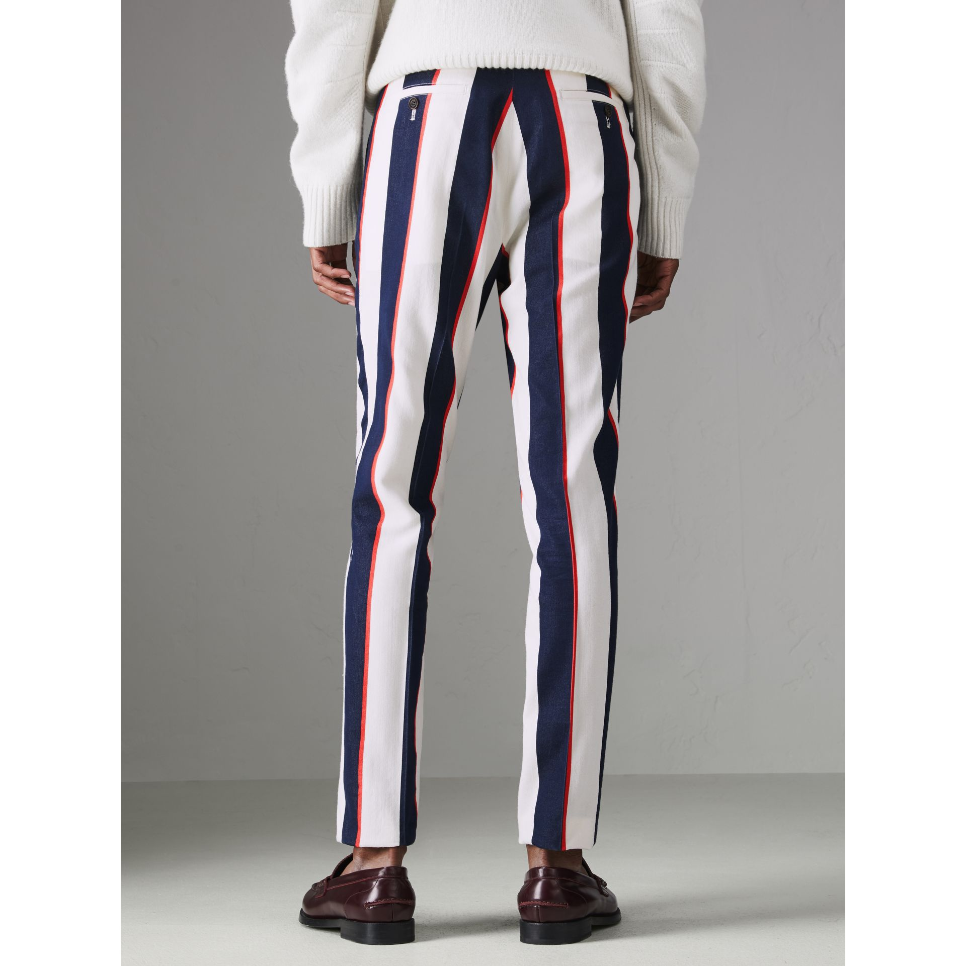 Striped Cotton Wool Blend Tailored Trousers in Natural White - Men | Burberry Australia - gallery image 2