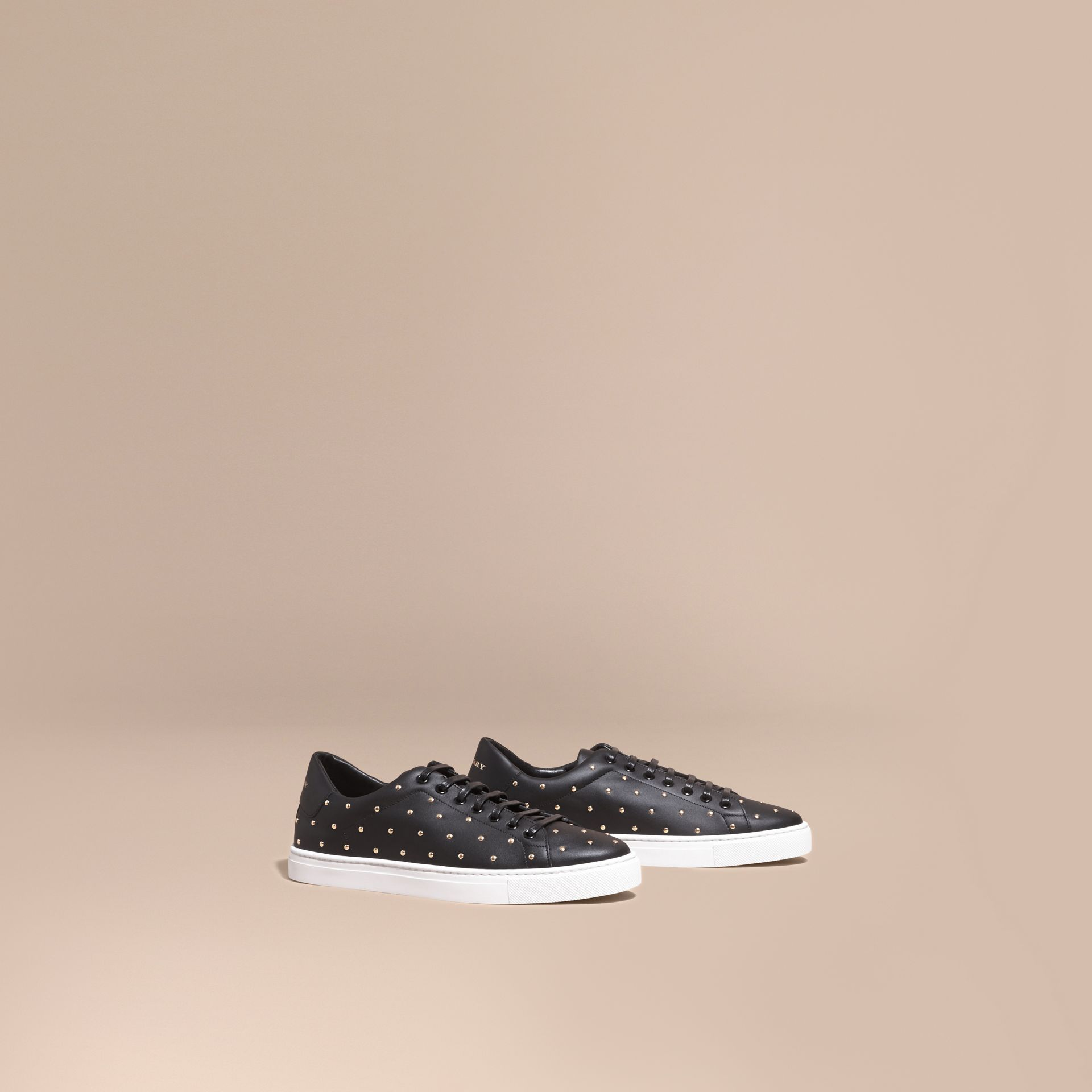 Black Studded Leather Sneakers - gallery image 1
