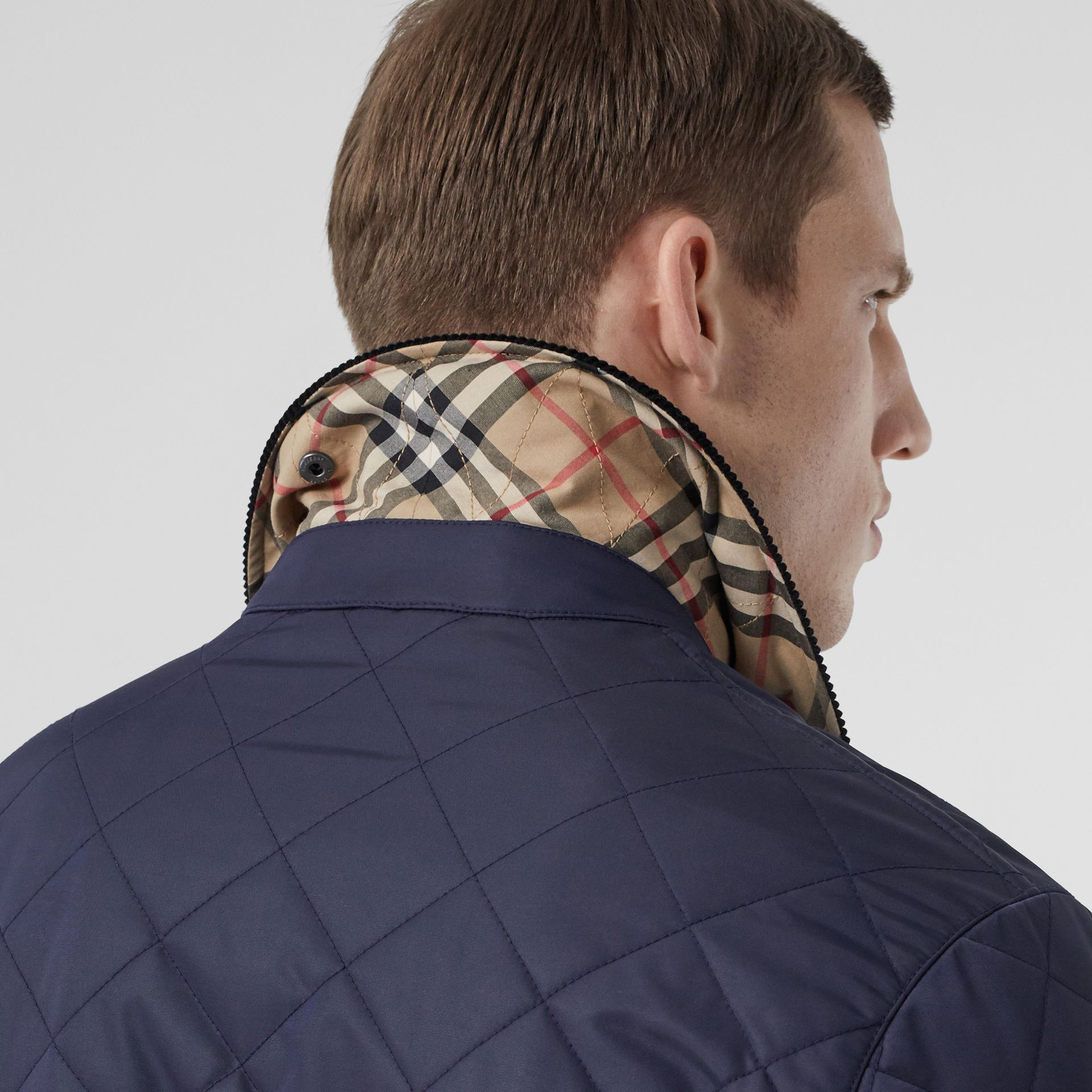 Diamond Quilted Thermoregulated Barn Jacket in Navy - Men | Burberry - gallery image 4