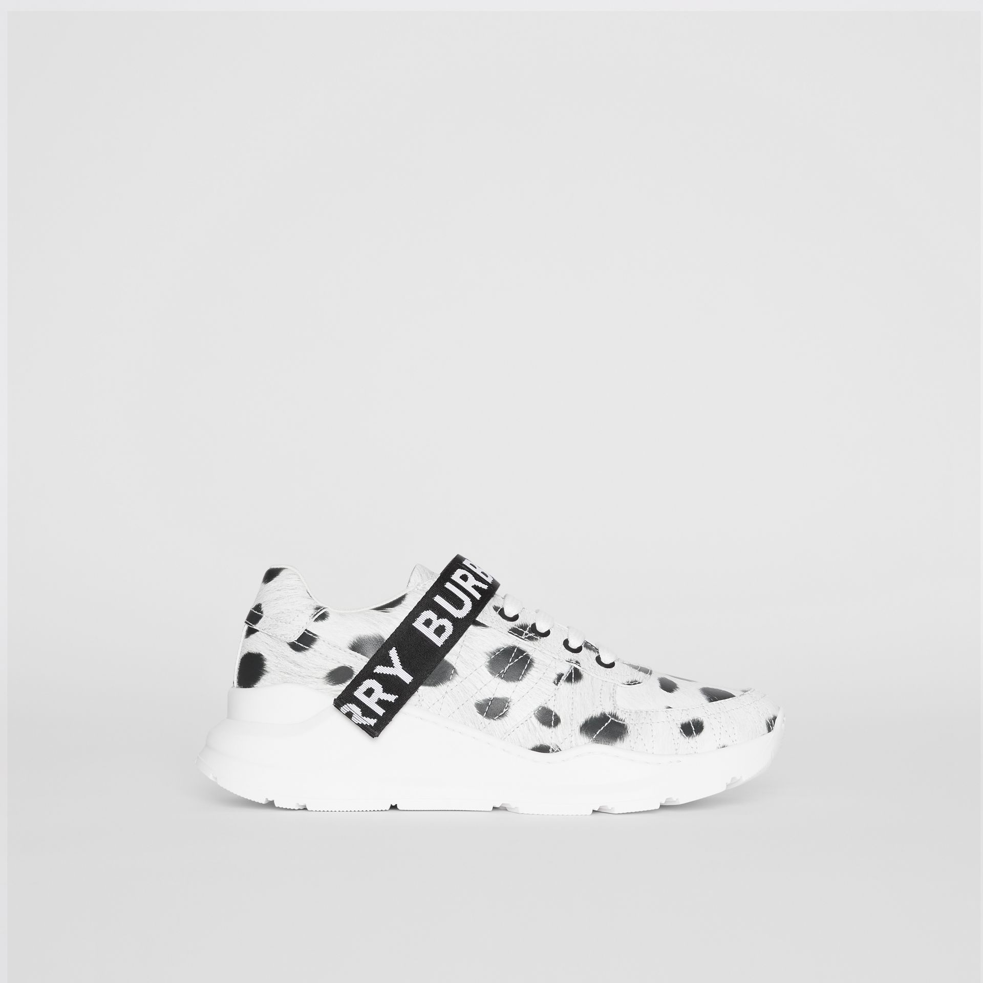 Animal Print Leather Sneakers in Off White - Women | Burberry - gallery image 4