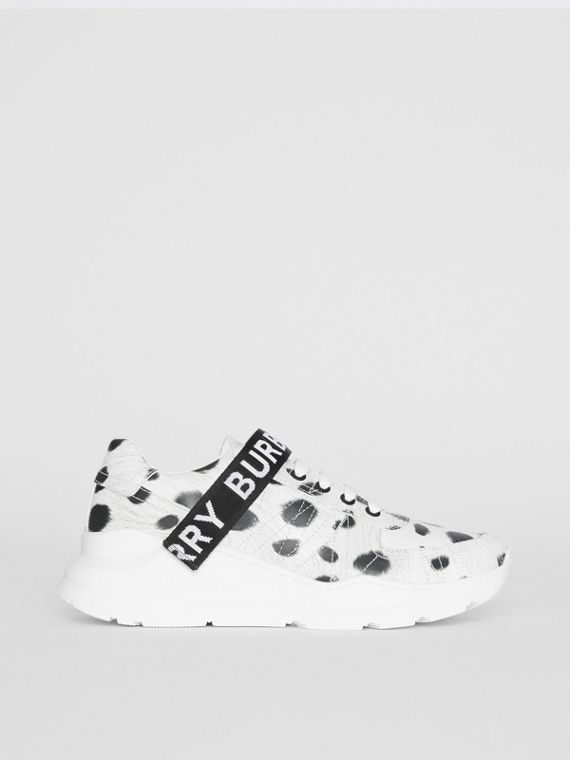 Animal Print Leather Sneakers in Off White