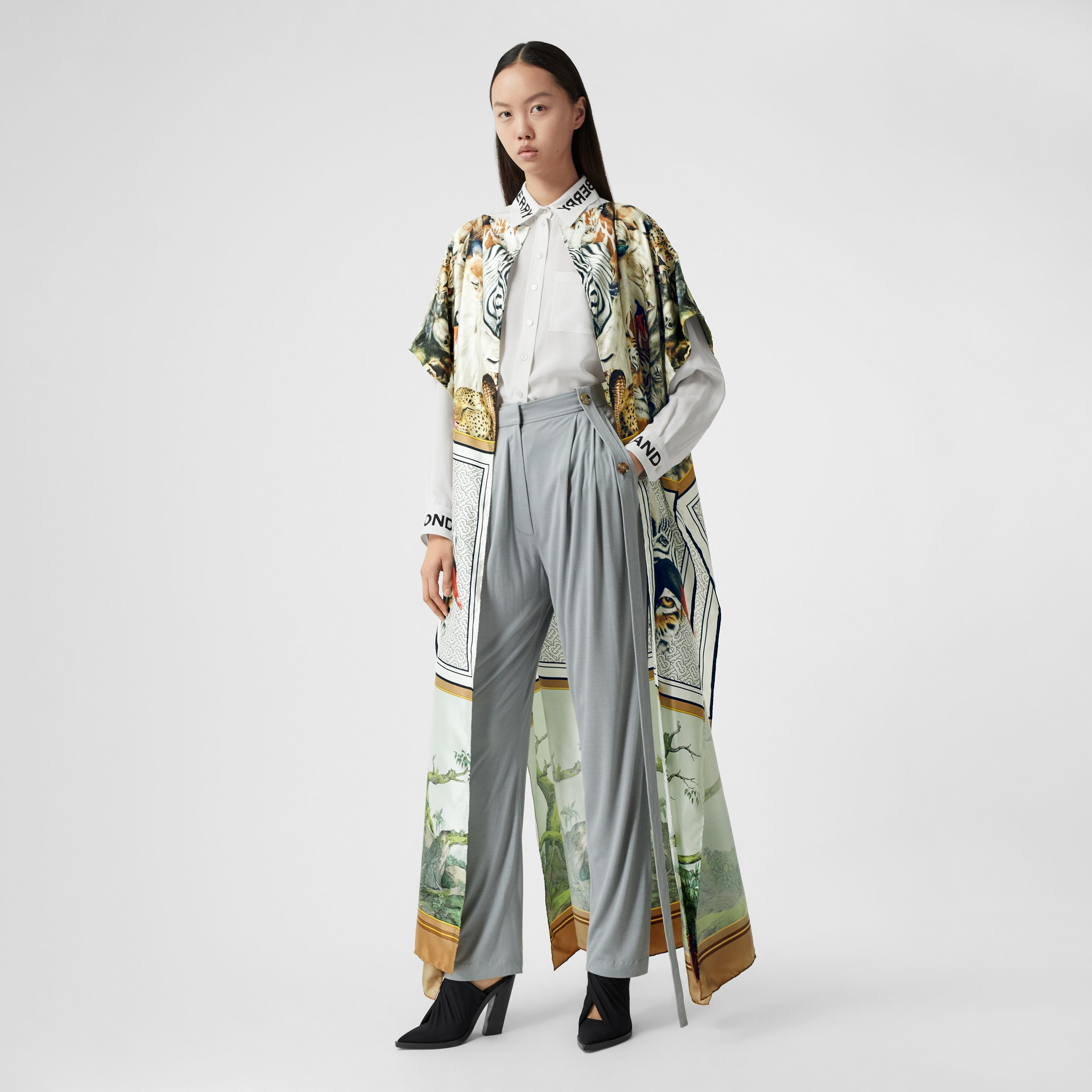 Montage Print Silk Twill Cape in Multicolour - Women | Burberry - 1