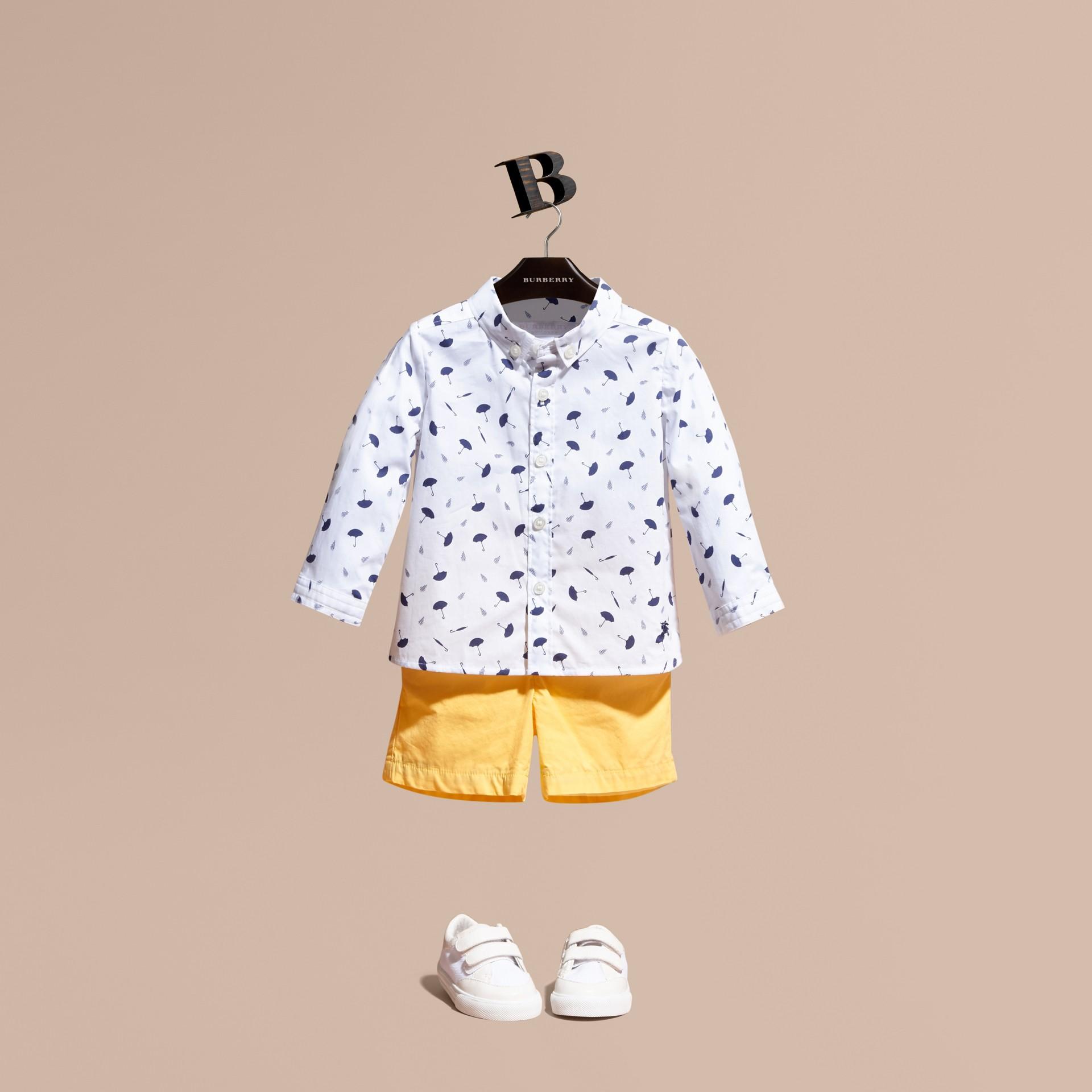 Button-down Collar Umbrella Motif Cotton Shirt - gallery image 1