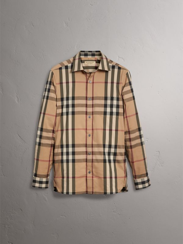 Check Stretch Cotton Shirt in Camel - Men | Burberry Singapore - cell image 3