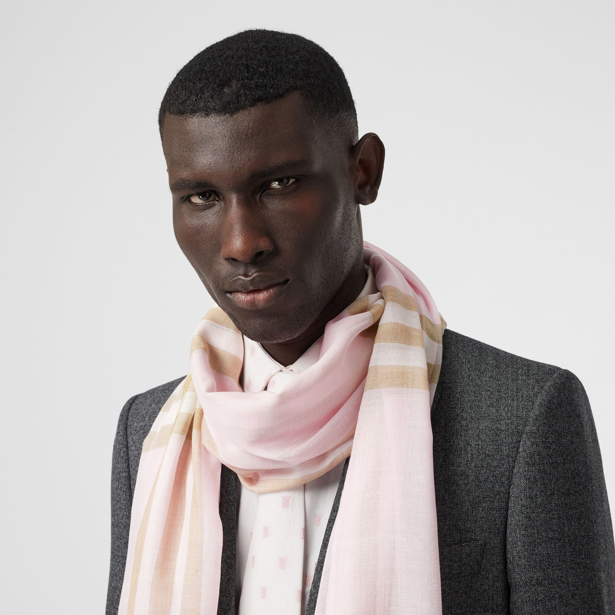 Lightweight Check Wool Silk Scarf in Alabaster | Burberry - 4