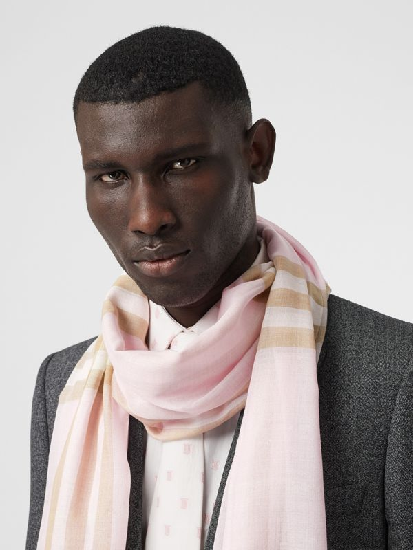 Lightweight Check Wool Silk Scarf in Alabaster | Burberry - cell image 3