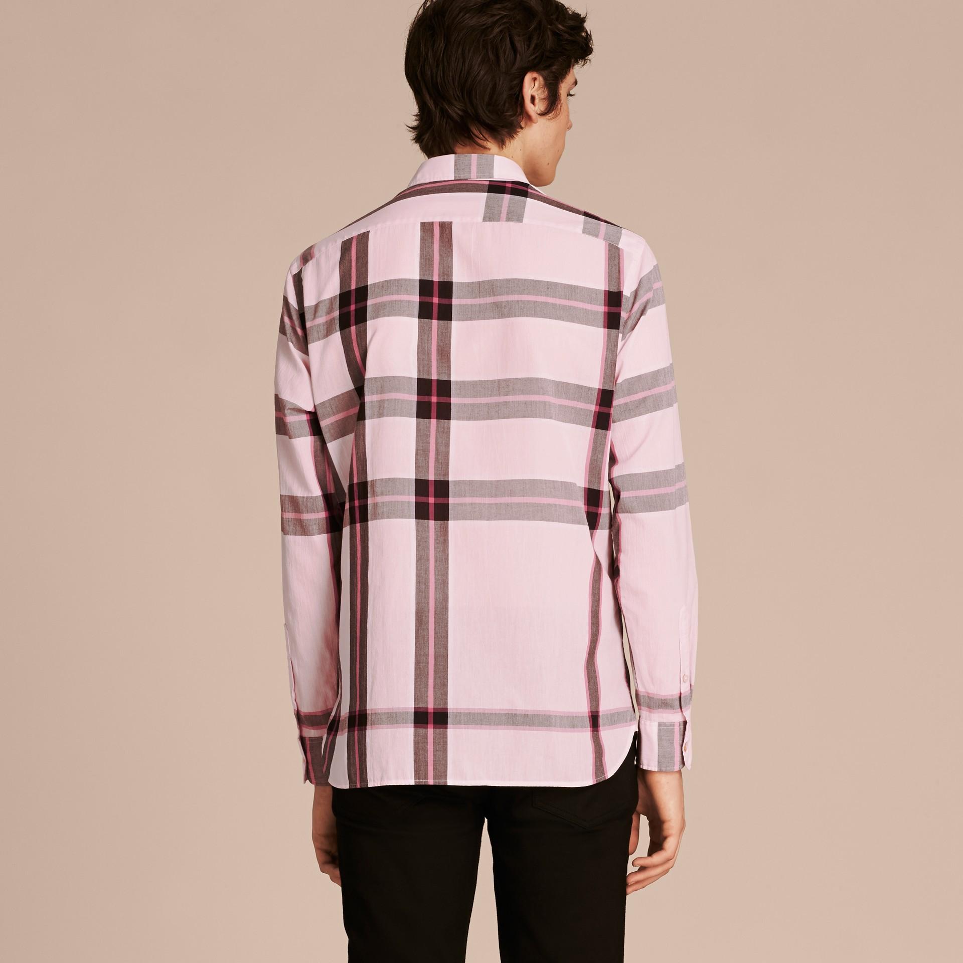Check Cotton Shirt Light Pink - gallery image 3