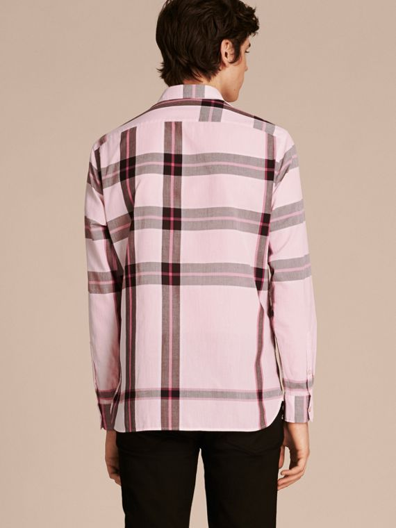 Check Cotton Shirt Light Pink - cell image 2