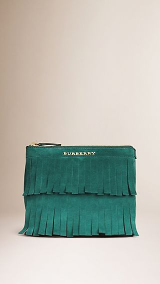 Tiered Suede Fringing Zipped Pouch