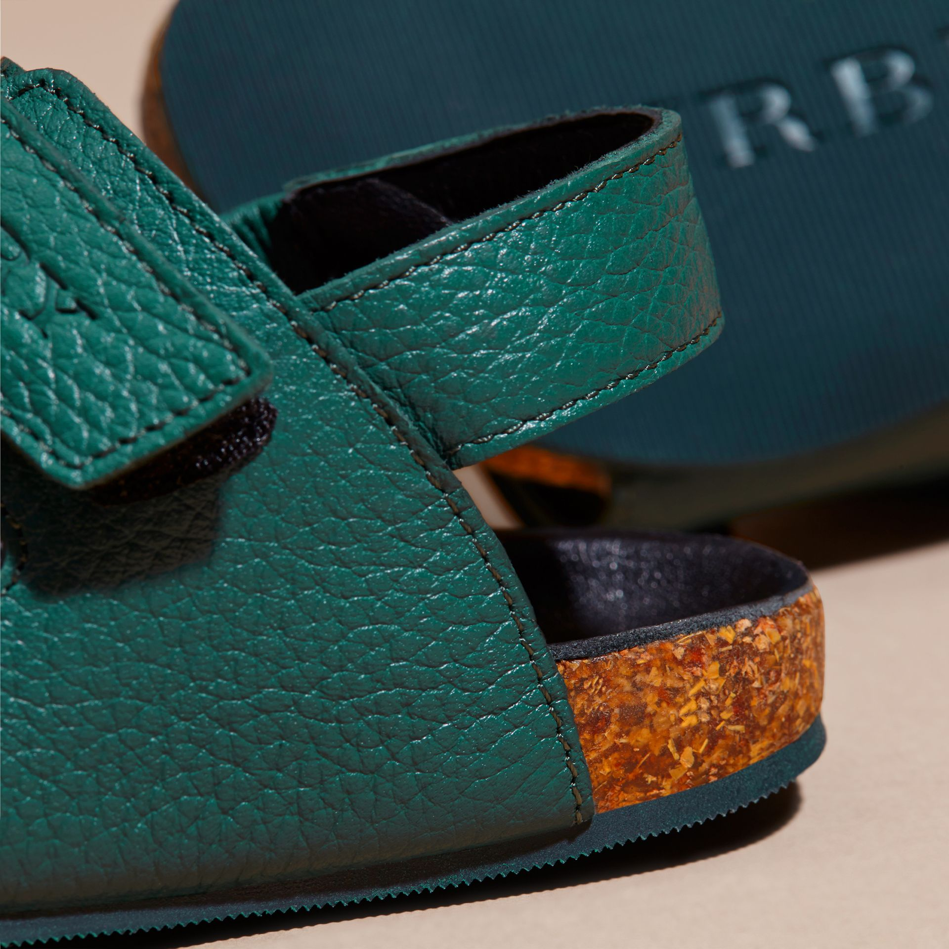Deep viridian green Leather Sandals - gallery image 4