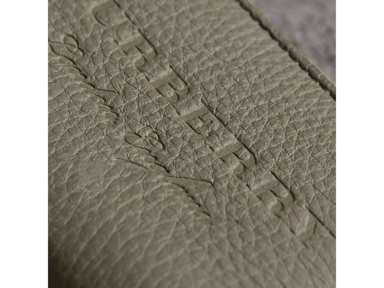 Textured Leather Ziparound Coin Case in Slate Green - Men | Burberry - cell image 1