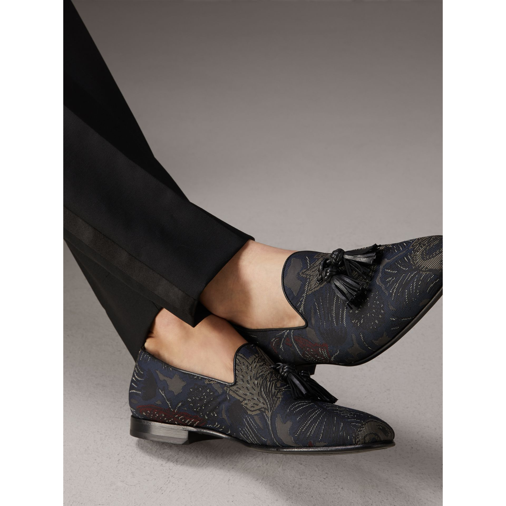 Tasselled Beasts Jacquard Loafers in Navy Grey - Men | Burberry - gallery image 3