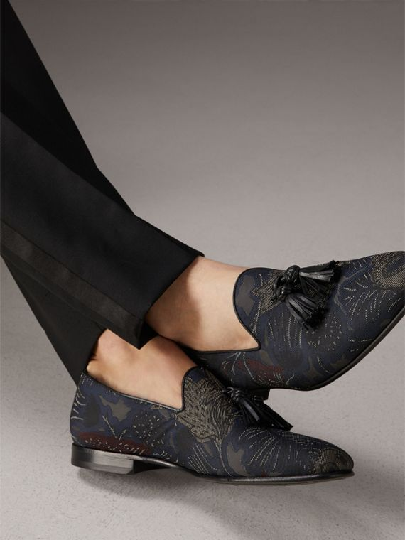 Tasselled Beasts Jacquard Loafers in Navy Grey - Men | Burberry - cell image 2