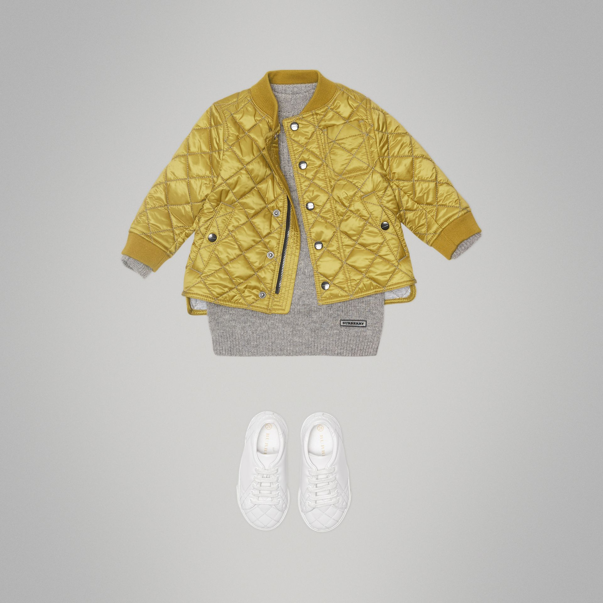 Lightweight Diamond Quilted Jacket in Saffron Yellow - Children | Burberry - gallery image 2