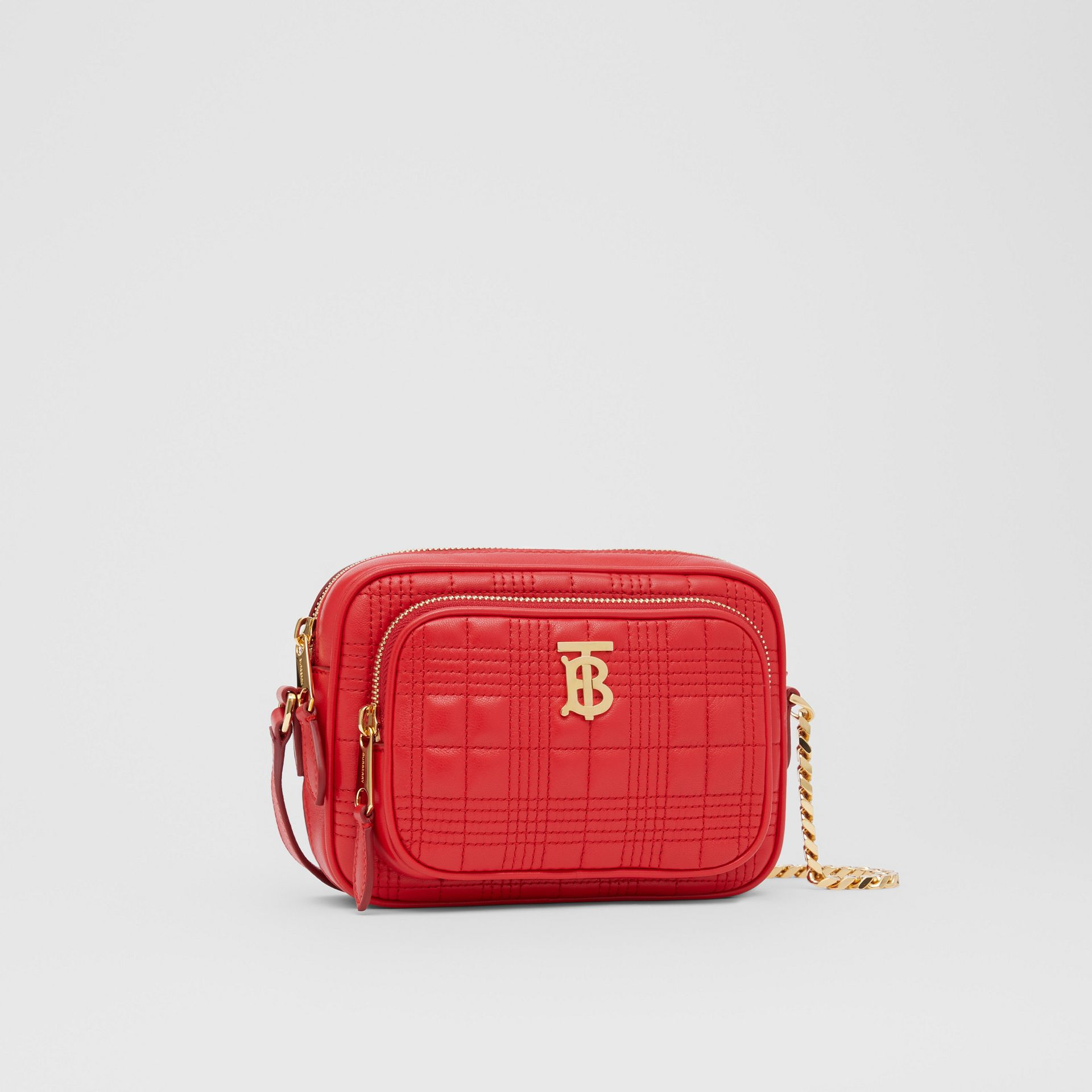 Small Quilted Lambskin Camera Bag in Bright Red | Burberry - gallery image 8