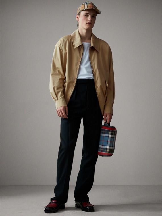 Bolsa pouch de algodão em xadrez tartan (Azul)
