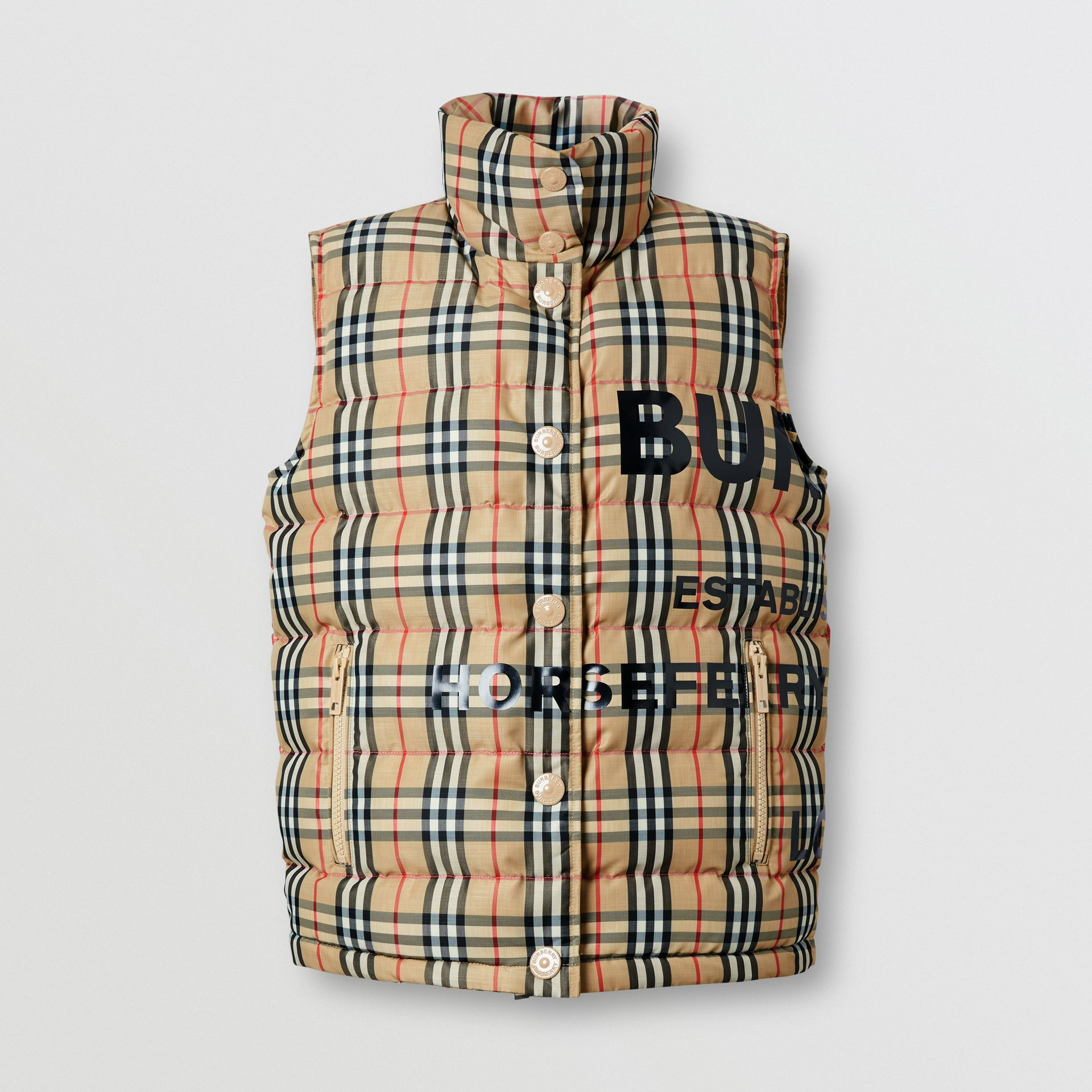 Horseferry Print Vintage Check Puffer Gilet in Archive Beige - Women | Burberry United Kingdom - gallery image 3