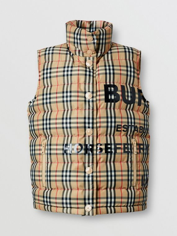 Horseferry Print Vintage Check Puffer Gilet in Archive Beige