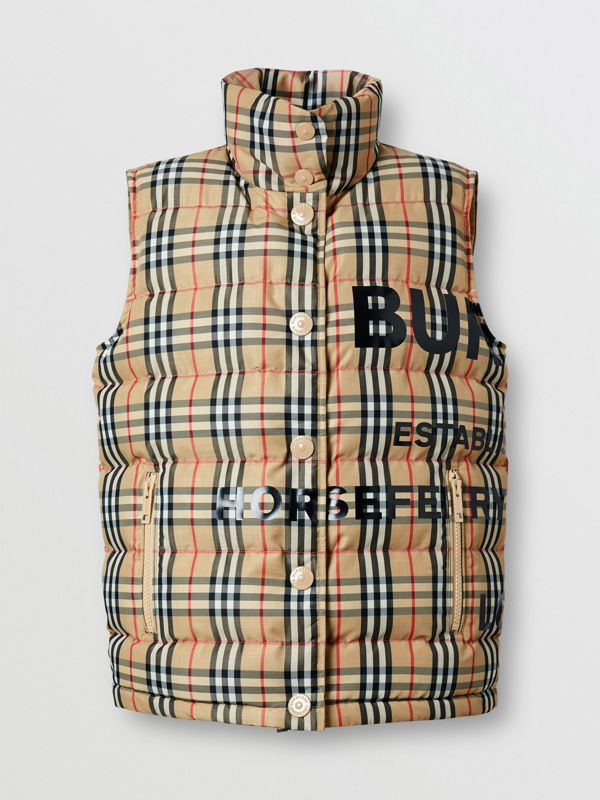 Horseferry Print Vintage Check Puffer Gilet in Archive Beige - Women | Burberry United Kingdom - cell image 3
