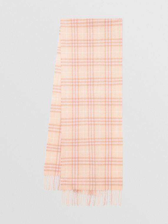 The Classic Vintage Check Cashmere Scarf in Dusty Pink