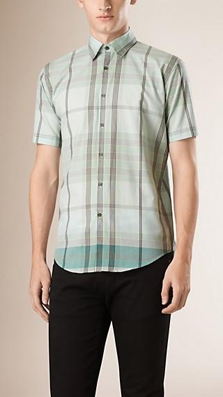 Camisa xadrez de algodão com mangas curtas