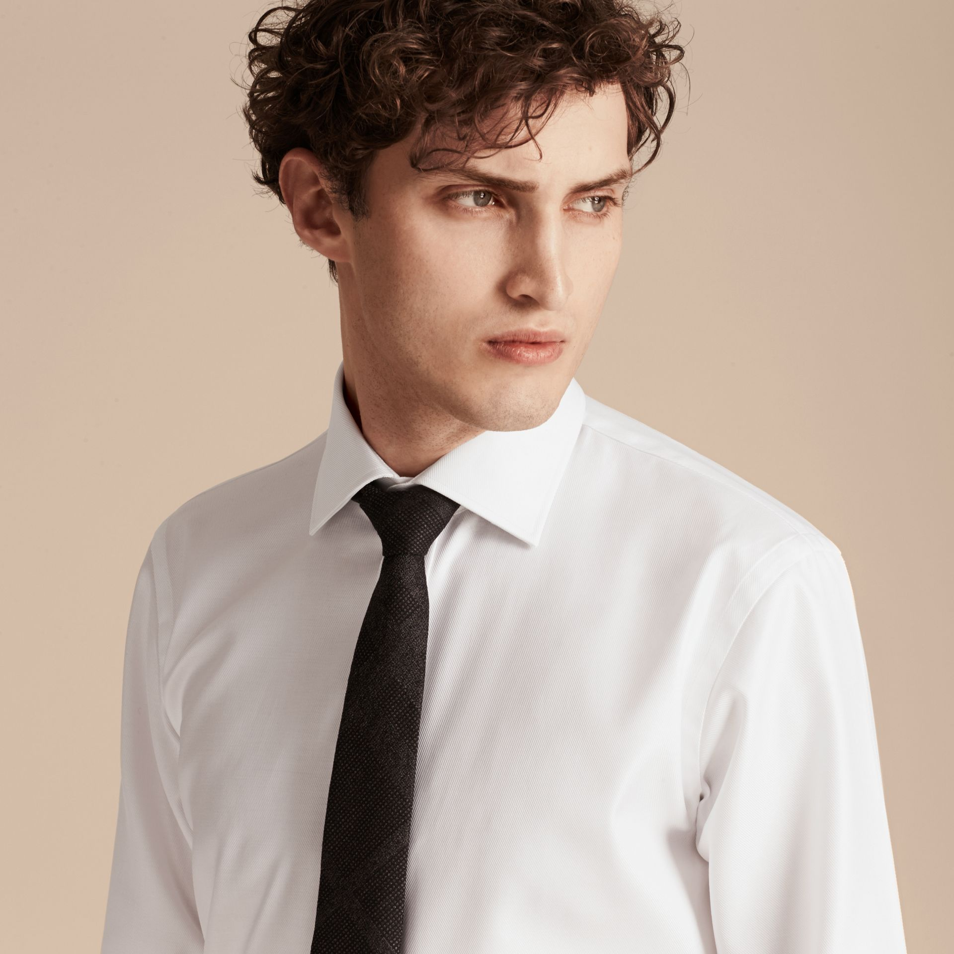 White Modern Fit Cotton Twill Shirt White - gallery image 4