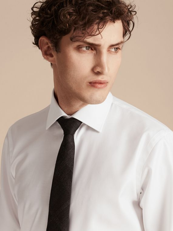 White Modern Fit Cotton Twill Shirt White - cell image 3