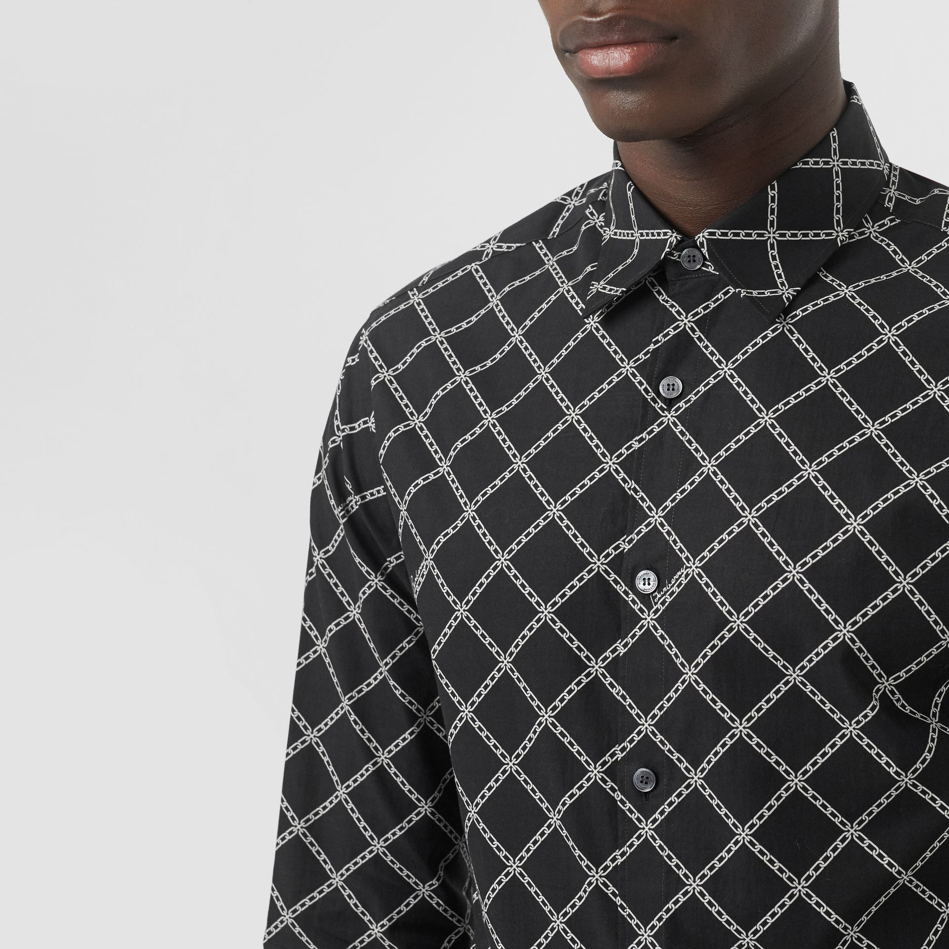 Link Print Cotton Poplin Shirt in Black - Men | Burberry Canada - gallery image 1