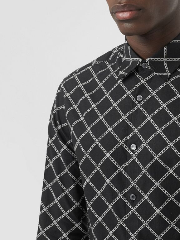Link Print Cotton Poplin Shirt in Black - Men | Burberry Canada - cell image 1