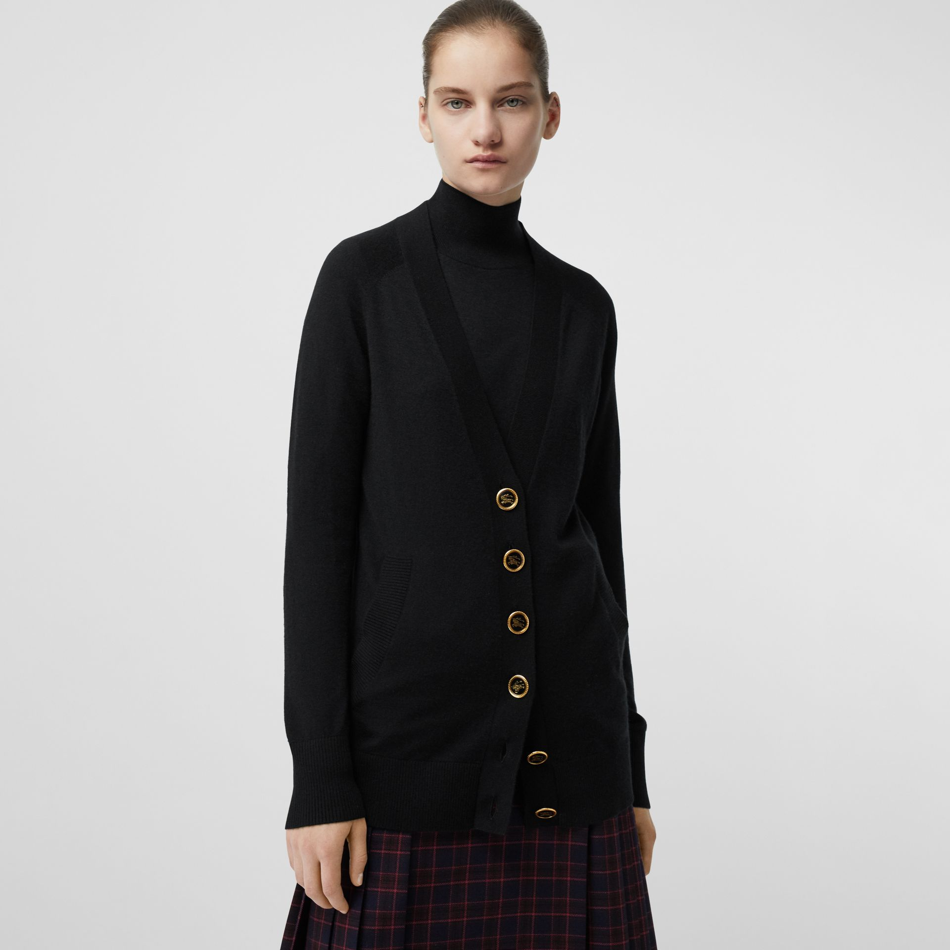 Cashmere V-neck Cardigan in Black - Women | Burberry Canada - gallery image 4