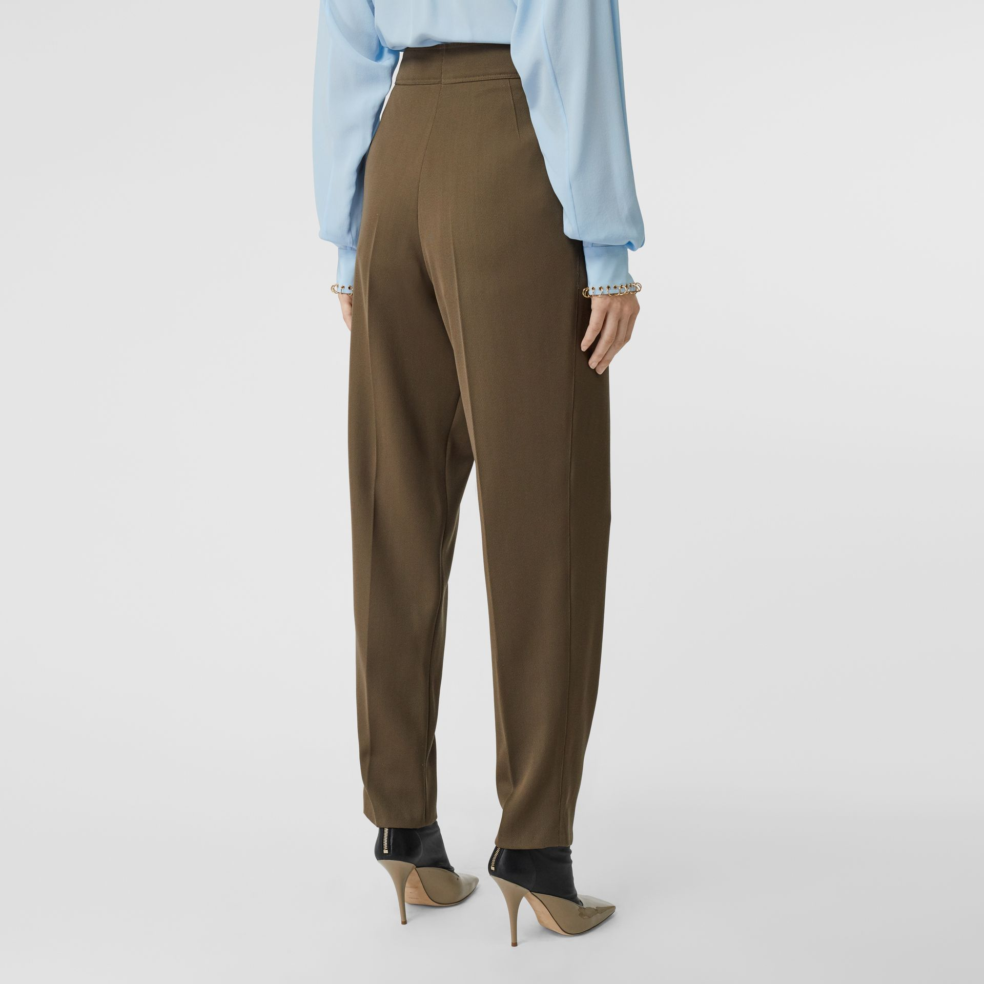 Pleat Detail Wool Twill Tailored Trousers in Warm Taupe - Women | Burberry - gallery image 2