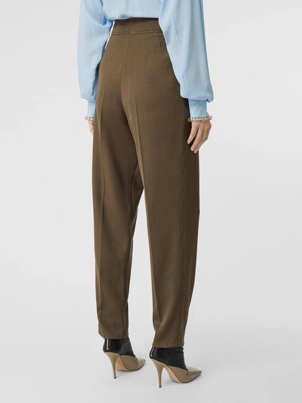 Pleat Detail Wool Twill Tailored Trousers in Warm Taupe - Women | Burberry - cell image 2
