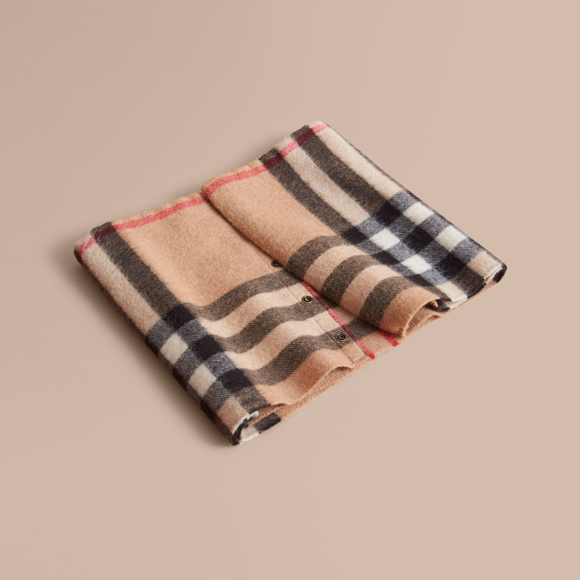 Exploded Check Cashmere Snood in Camel | Burberry - gallery image 1
