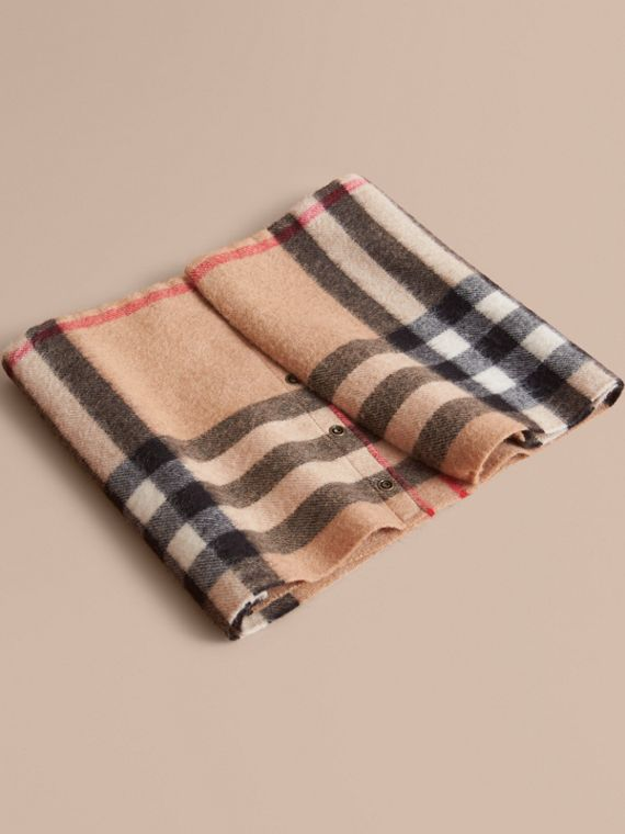 Exploded Check Cashmere Snood in Camel