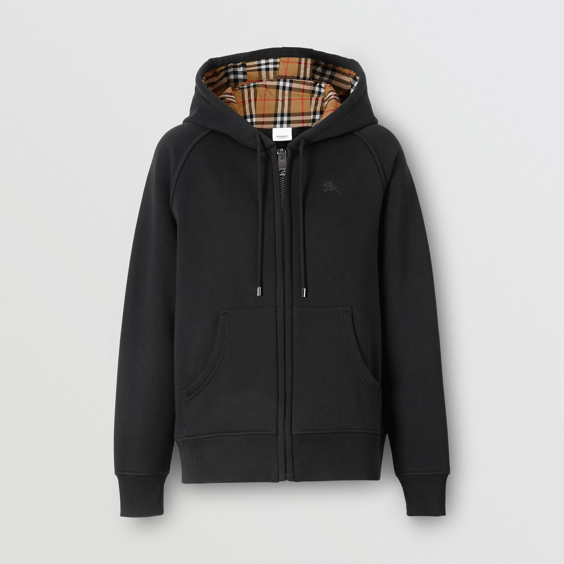 Vintage Check Detail Jersey Hooded Top in Black - Women | Burberry United Kingdom - gallery image 3